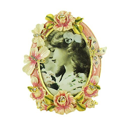 Victorian Rose Frame - EchoMerx Pink Rose Butterfly Picture Frame Bejeweled Victorian Style (Pink)