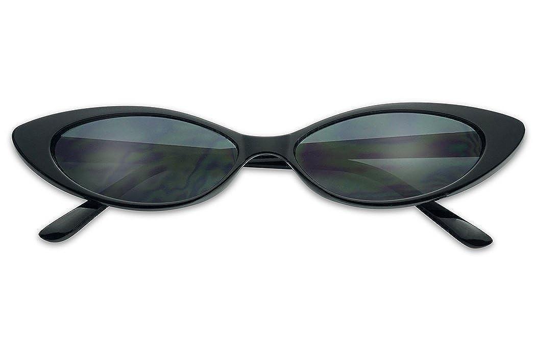 03a7725de65 Amazon.com  Mini Vintage Retro Extra Narrow Oval Round Skinny Cat Eye Sun  Glasses Clout Goggles (Black Frame