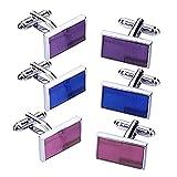 BodyJ4You 6PCS Cufflinks Button Shirt Men Blue Purple Pink Silvertone Rectangle Jewelry Set Gift Box