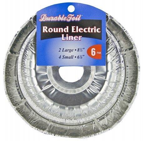 Durable Foil D62060 6 Count Round Electric Burner Liner Set