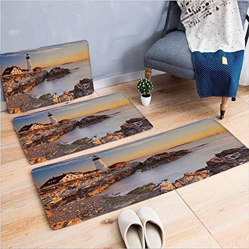 3 Piece Non-Slip Doormat 3d print for Door mat living room kitchen absorbent kitchen mat,Maine River Portland Lighthouse Sunrise USA Coast,15.7