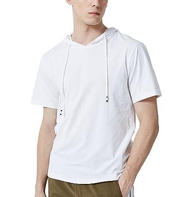 online store 7b3ec 37e7d GUOCU Uomo con Cappuccio T-Shirt Casual A Maniche Corte con ...