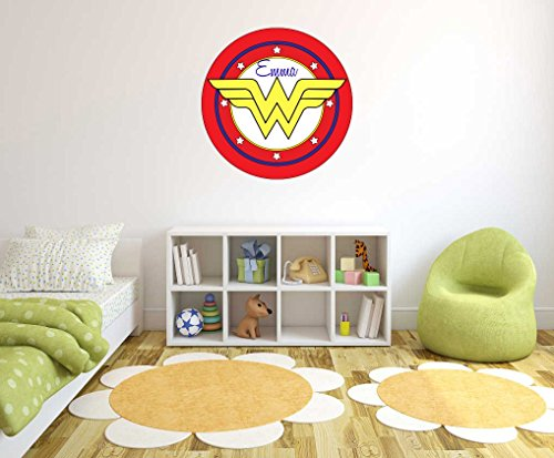 Customs Name Wonder Women Logo - Personalized Girls Superhero Name - Wall Decal for Nursery Decoration - Bedroom playroom Decoration (Wide 20
