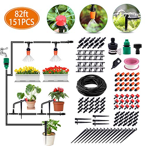 Irrigation System, 82ft Drip Irrigation Kit DIY Micro Automatic Watering System with 1/4 Inches Blank Distribution Tubing Hose Adjustable Saving Water Dripper Sprinkler Set for Garden, Greenhouse (Watering System Patio Pot)