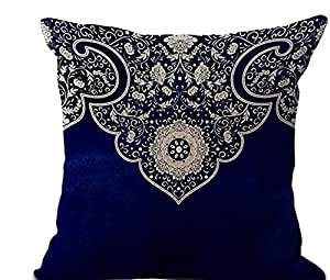 Ultrasoft Euro Square Decorative Sham Pillow White : Amazon.com: Blue and white porcelain boho style European pattern Throw Pillow Case Cotton Blend ...