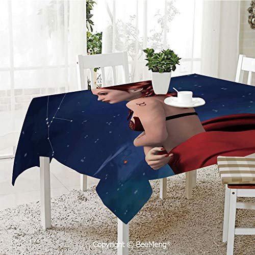 BeeMeng Spring and Easter Dinner Tablecloth,Kitchen Table Decoration,Astrology,Taurus Girl with Horns Maleficent Zodiac Stars Venus Beauty Graphic Design Decorative,Navy Red Brown,59 x 83 -
