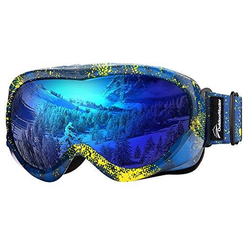 OutdoorMaster Kids Ski Goggles - Helmet Compatible Snow Goggles for Boys & Girls with 100% UV Protection (Yellow Pattern Frame + VLT 15% Blue - Tinted For What Glasses Are Yellow