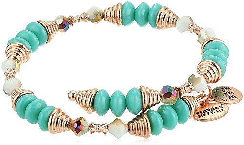 Alex and Ani Womens Haven Wrap, Ocean Bangle Bracelet, Shiny Rose, Expandable