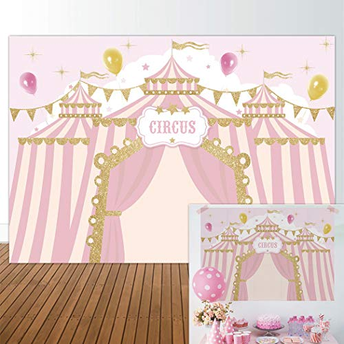 Allenjoy 7x5ft Pink Circus Backdrop Carnival Carousel Big Top Tent First 1st Background Girl Birthday Party Dessert Candy Cake Table Decor Decoration Baby Shower Banner Photo Shoot Booth -