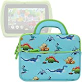 Evecase for Kids Tablet Sleeve Case, Cute Dinosaurs Themed Neoprene Travel Carrying Slim Bag w/ Dual Handle and Accessory Pocket - Blue w/ Green Trim