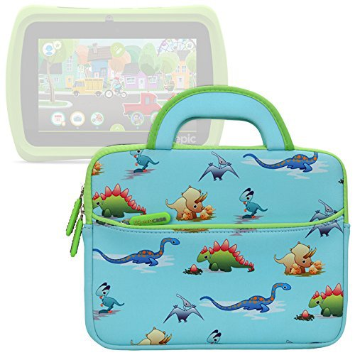 Evecase Cute Dinosaurs Themed Neoprene Travel Carrying Slim Bag w/ Dual Handle and Accessory Pocket - Blue w/ Green Trim for Leapfrog Epic/ LeapPad Platinum/ LeapPad Ultra XDI 7-inch Kids Tablet
