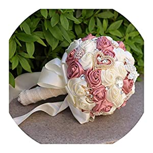 Wedding Bouquet 8 Colors Gorgeous Wedding Flowers Bridal Bouquets Artificial Wedding Bouquet Crystal Sparkle with Pearls 2019 Buque De Noiva,Color As Picture10 96
