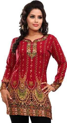 Women's Indian Kurti Top Tunic Printed Blouse India Clothes (Maroon, M)
