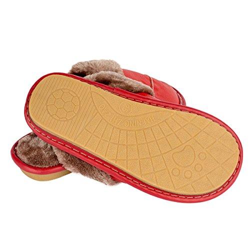 Haisum 8832-w - Zapatillas de estar por casa de piel vacuna para mujer Red
