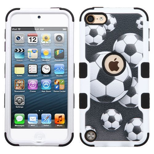 iPod Touch 5th / 6th Gen - SOCCER BALL Armor Impact Hybrid Hard&Soft Rubber Case (Ipod Feet compare prices)