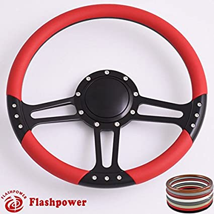 Flashpower 14'' Billet Half Wrap 9 Bolts Steering Wheel with 2'' Dish and Horn Button(Black)