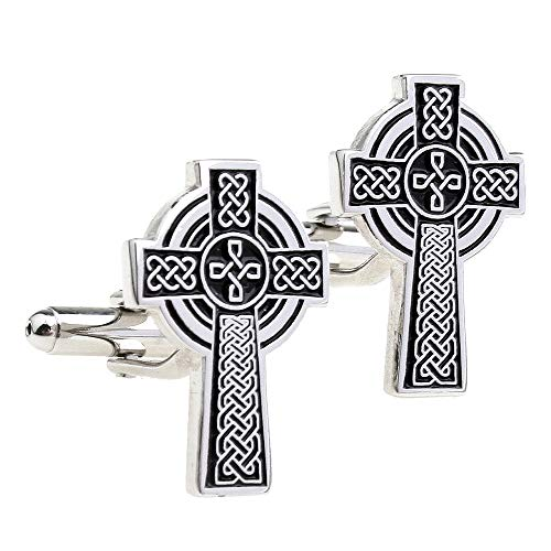 Belleman Mens Celtic Cross Cufflinks Jesus Catholic Irish Ireland Cuff Links for Wedding Business Christian (Celtic & Black)
