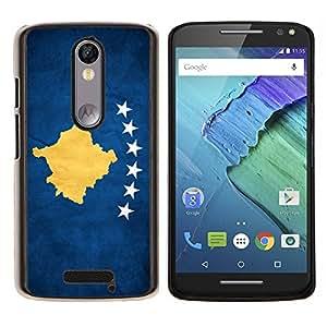 KLONGSHOP // Cubierta de piel con cierre a presión Shell trasero duro de goma Protección Caso - Nacional bandera de la nación País Kosovo - Motorola Moto X3 3rd Generation //