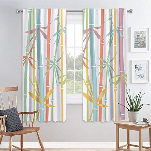 DUISE Multicolored Bamboo Tree and Leaves Abstract Design Decor Curtains, Blackout Window Curtains Rod Pocket Headings Light Blocking for Living Room Dining Room Bedroom Baby Room Children's Room