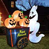 Joiedomi Halloween 6 FT Inflatable Ghost Pushing Pumpkin Cart with Build-in LEDs Blow Up Inflatables for Halloween Party Indoor,...