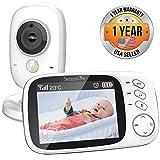 """SereneLife SLBCAM20 - Monitor inalámbrico de vídeo para bebé, sistema dual con termómetro de temperatura, cámara de sueño, visualización digital de 3,2"""" a color, batería recargable inalámbrica, altavoz de audio y clip portátil"""