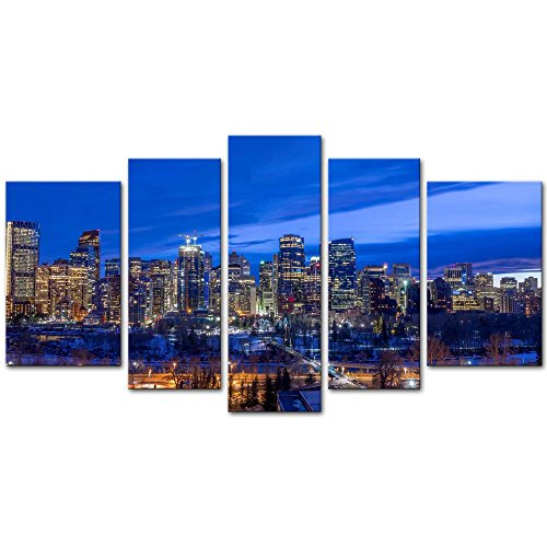 Wall Art Decor Poster Painting On Canvas Print Pictures 5 Pieces Skyscrapers Urban Core at Dusk Calgary Alberta Canada Architecture Cityscape Framed Picture for Home Decoration Living Room Artwork