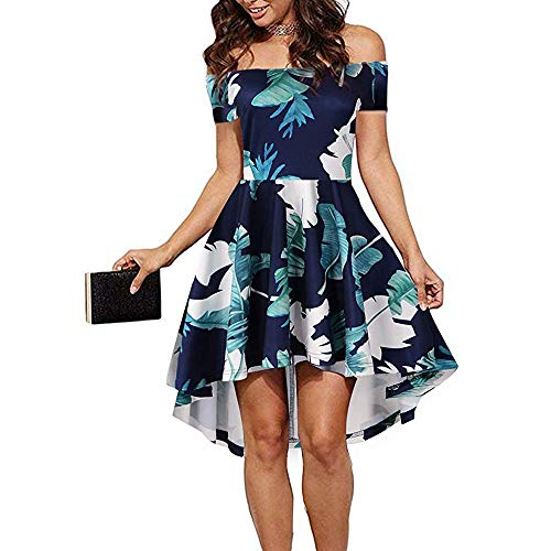 CUQY Women Sleevess Boat Neck Summer Casual Flared Dress (FBA) (Pat-2, M)