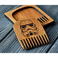 Beard Comb Wood By Enjoy The Wood Moustache Comb In Wooden Case Anti-Static Wooden Comb For Men With Stormtrooper Great With Beard Balm Grooming Kit Husband Gift Anniversary Man Father Boyfriend