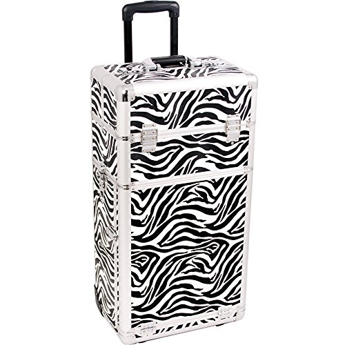 SUNRISE Rolling Cosmetic Case 2 in 1 Pro Artist I3162 Aluminum, 4 Slide Trays and 4 Small Drawers with Shoulder Strap, White Zebra by SunRise