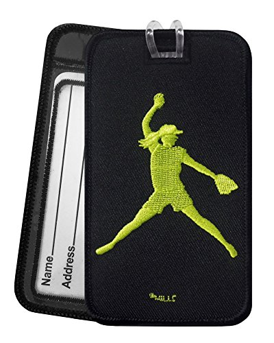 Softball Pitcher Luggage Tag - Embroidered Set of 2 - Pitcher Tag