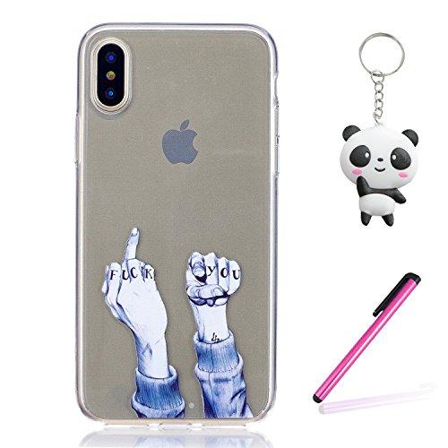 iPhone X Hülle Fick dich Premium Handy Tasche Schutz Transparent Schale Für Apple iPhone X / iPhone 10 (2017) 5.8 Zoll + Zwei Geschenk