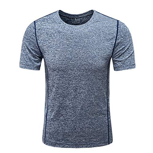 Inforin Men's Summer O-Neck T-Shirt Fitness Sport Fast-Dry Breathable Top Blouse Dark Gray