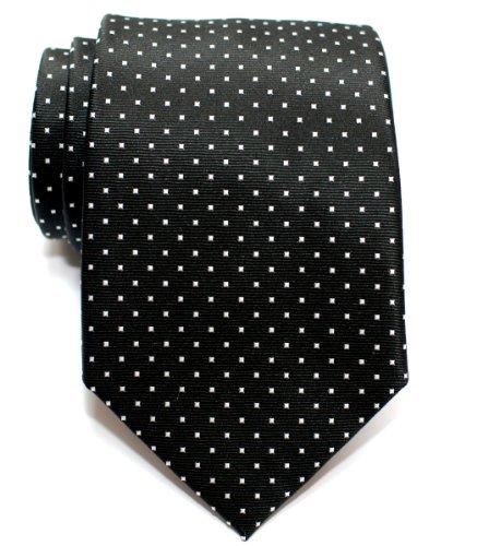 Retreez Pin Dots Woven Microfiber Men's Tie - Black with White Pin Dots