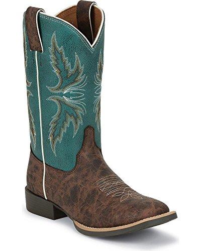 Justin Boys' Bent Rail Cowboy Boot Square Toe Brown 6 D(M) US