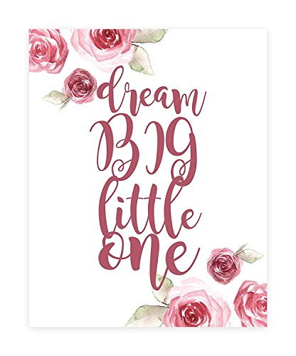 Dream Big Little One Décor, Print in 16x20 Inch Canvas, Flower Print, Dream Big Wall Sign, Baby Nursery Wall Decor Kids Bedroom Decor, Kids PosterQuote Artwork Coated 20 Mil Canvas