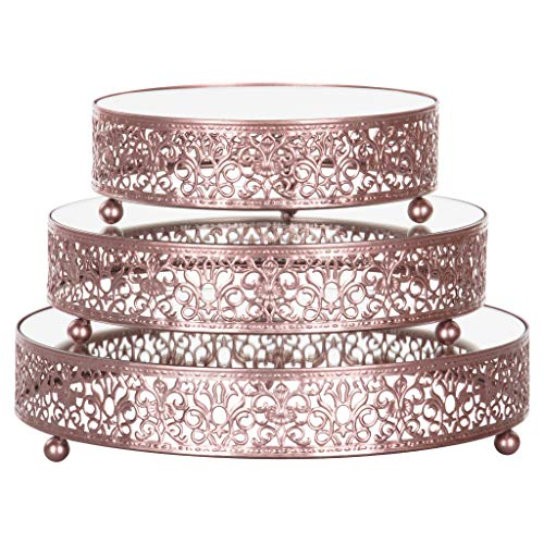 3-Piece Round Mirror-Top Cake Stand Risers Dessert Tray Set (Rose -
