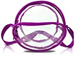 Nova Sport Wear 8 Inch Round Clear Messenger Bag for Events/Transparent Purse for Stadiums/Clear Bag for Men and Women (Purple)