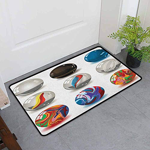 (ONECUTE Crystal Velvet Doormat,Pearls Collection of Different Marbles with Glass and Porcelain Materials Like Bubbles Artwork,for Outdoor and Indoor,31