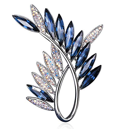 RAINBOW BOX Brooches for Women, Blue Olive Branch with Swarovski Crystal Jewelry Women