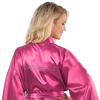 VEAMI Women's Short Kimono Robe-Cerise-X-Large, Bridesmaid Edition