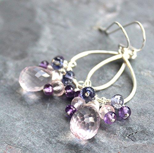 (Chandelier Cluster Rose Quartz Earrings Gemstones Sterling Silver Pink Purple)