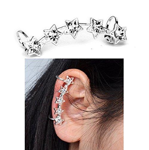 Crystal Five Stars Ear Cuff Wrap Clip Earrings 1.5