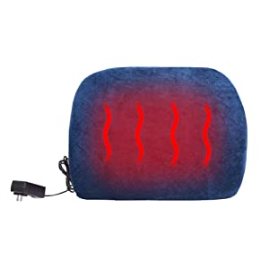 WOOLALA Heated Memory Foam Lumbar Support, Chair Cushion for Lower Back Pain, Therapy Heating Pad for Office Chair/Home