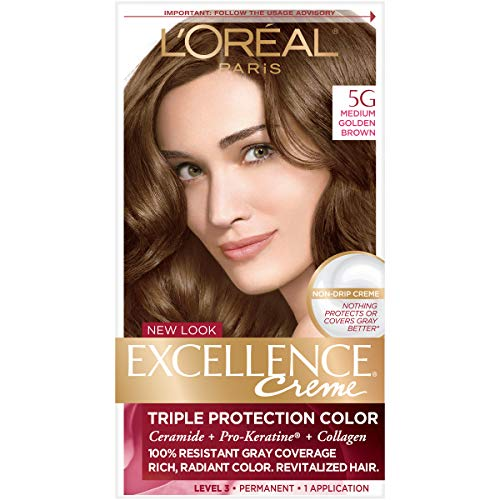 L'Oréal Paris Excellence Créme Permanent Hair Color, 5G Medium Golden Brown, 1 kit 100% Gray Coverage Hair Dye