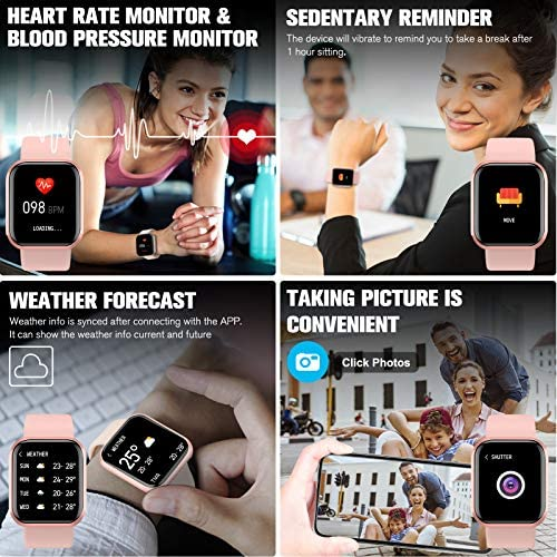 Peakfun Smart Watch,Fitness Watch Activity Tracker with Heart Rate Blood Pressure Monitor IP67 Waterproof Touch Screen Bluetooth Android Phone Smartwatch Sports Watch for Android iOS Phones Women Pink 2