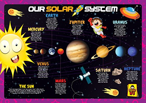 UNCLEWU Solar System Learning Placemats - Educational Kids Placemats