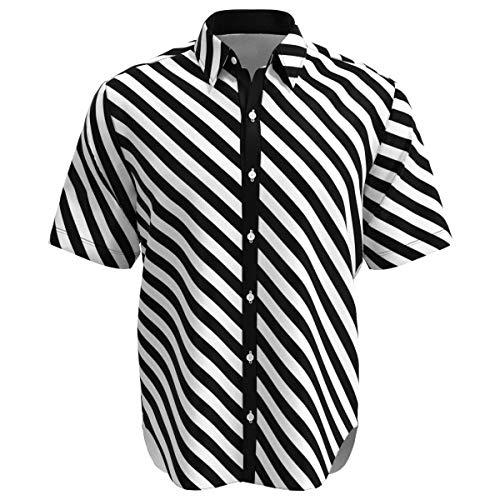 (EightyThree XYZ Black & White Diagonal Stripes Men's Buttons Shirt -)