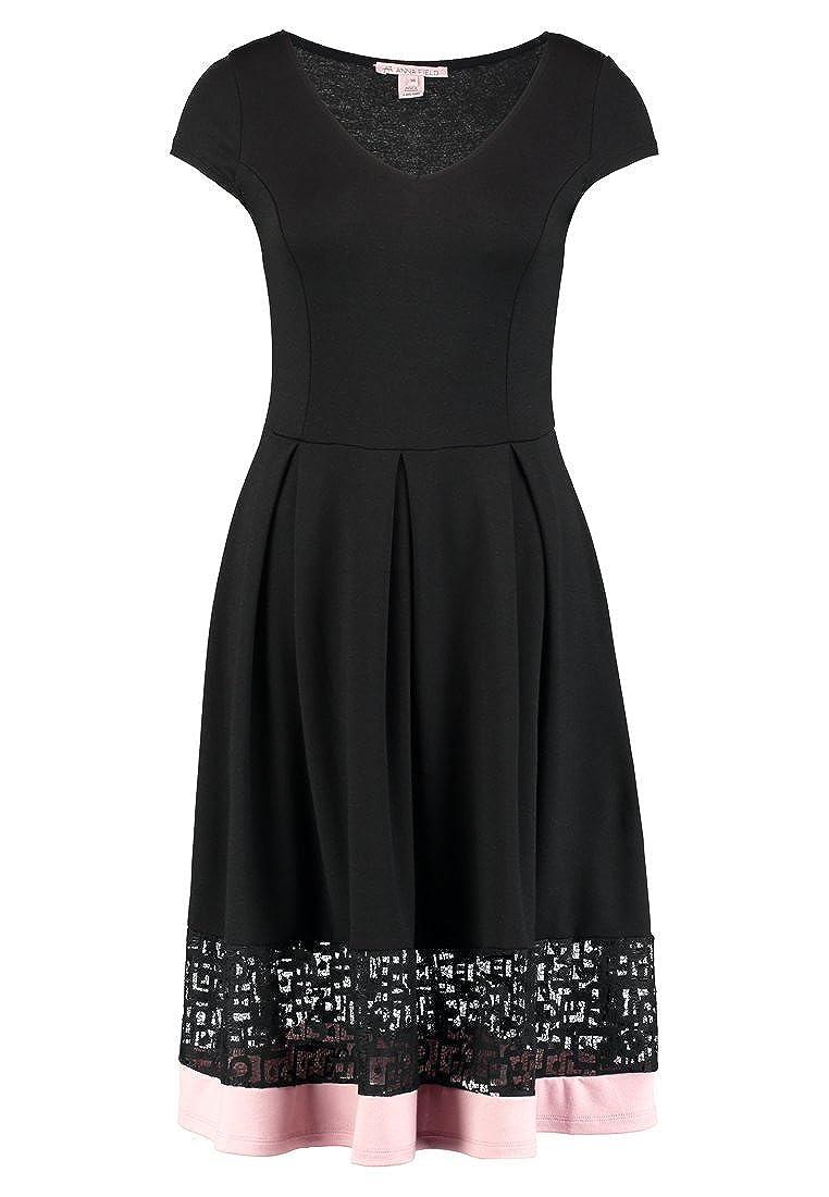 Anna Field Kleid Damen mit Borte aus Spitze - Jerseykleid elegant mit V-Ausschnitt & Kurzarm - Cocktailkleid tailliert & knielang mit Stretch Anteil