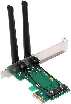 Tarjeta de Red inalámbrica Chg WiFi Mini PCI-E Express a PCI-E Adaptador 2 Antena PC Externa