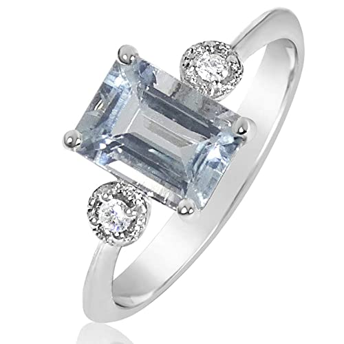 bec6ed5e0ff2 Anillo Mujer Compromiso Oro y Diamantes - Oro Blanco 9 Quilates 375 ♥  Diamantes 0.03 Quilates - Aguamarina 1 Quilates  Amazon.es  Joyería